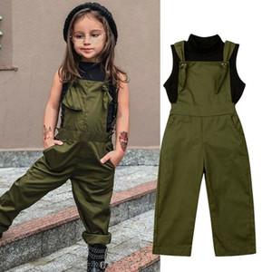 2-7Y niño de los bebés arropa sistemas sin mangas de cuello alto Negro Chaleco Tops + Trajes de pantalones sólidos equipos del verano