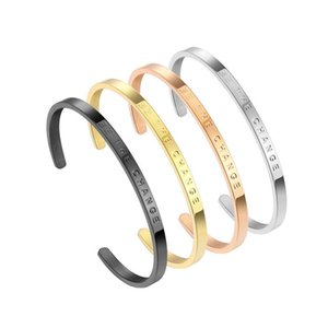 Cuff Open Bracelet Stainless Steel Engraving Bangle Bracelet