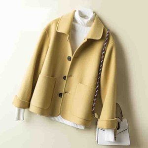100% Wool Coat Women 2020 Spring Autumn high quality Double-sided Cashmere Jacket Long sleeve Casual plus size Short Coats