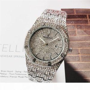 Couleurs Mens Fashion Watch Royal Oak Luxury Designer Diamant Glacé Montres Mouvement en acier inoxydable Quartz bling ap Parti Wristwatch SD01