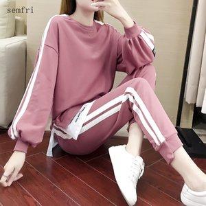 Semfri coton Taille Plus Femmes Survêtement 2020 Printemps Sweat Automne deux pièces Set Femme en vrac Style de Sweatsuit Casual