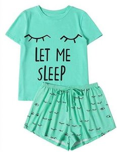 LET ME SLEEP Women Sets Fashion Short sleeve T-shirt Tops Shorts 2pcs Sets Clothing Designer Female Summer Casual Loose Outfits Home Suit