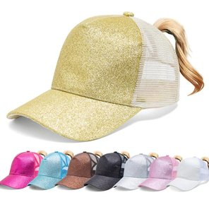 Glitter Ponytail Baseball Cap Women Snap Back Mesh Summer Hat Female ponytail baseball tennis Sports cap hat 7 colors LJJK2030-1