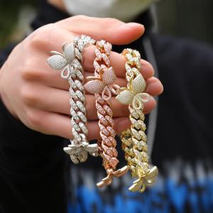Hip hop Micro Zircon Inlaid Butterfly Bracelet Men Women Hip Hop Rapper Jewelry