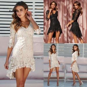 Frauen plus größe spitze mini kleid spitze floral kurzarm abend party kleider elegante weibliche bodycon v ausschnitt kleid