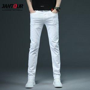 Jantour Printemps Eté Hommes Jeans Blanc mince Mode casual style classique Slim Fit souple Pantalon Homme Marque stretch avancée Pantalon