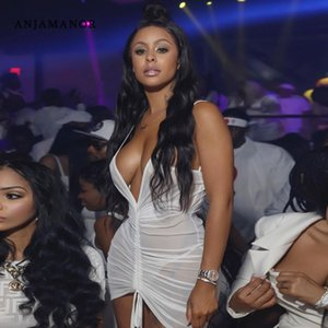Vestidos casuales Anjamanor Ver a través de Malla y sexy Bodycon Vestido Bodycon Club Use Neon Drawstring Rubed Backless Mini D70-H23