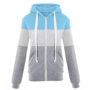 Winter And Autumn Color Block Long Sleeve Warm Hoodie With Zipper Women Sweatshirt Pocket Casual Simple Loose Fashion Plus Size