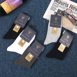 Independent packaging combed cotton men's men's medium solid and color all-match 200-pin socks Liaoyuan socks factory