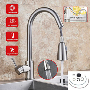 Brushed Nickel Kitchen Sink Faucet Pull Down pulverizador giratória Bico Mixer Tap