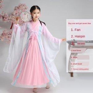 платье элегантный Guzheng детский костюм производительности детский студент супер фея bcGUl Ancient фея Hanfu Guzheng древнего CoSTUME девушки