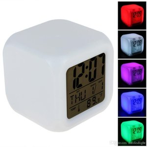 Cube Colorful Glowing 7 Led Colors Changing Digital Alarm Clock with Time & Date Week & Temperature Display
