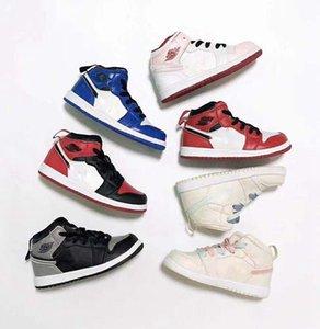 Comfort Children Birthday Gift 1s Basketball Shoes Children Boy Girl 1 Bred Black Red White Sneakers Boys girls Summer Outdoor Sports Shoes