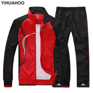 YIHUAHOO Eşofman Erkekler 4XL 5XL 2 İki Adet Giyim Seti Casual Hoodies Kazak Spor Eşofman Eşofman Kadınlar MS-8558