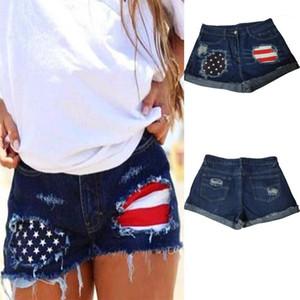 Повседневный Ripped Hole кисточкой Манжеты Denim шорты лето Женщины Дизайнерская одежда женщин США Flag Жан шорты