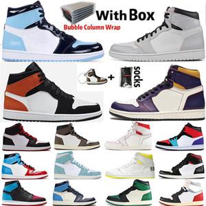 2020 avec la boîte Jumpman 1 1s Hommes Chaussures de basket-ball Obsidian UNC sans Peur Travis Scotts Turbo vert Chicago sport Baskets Sneakers Taille 13