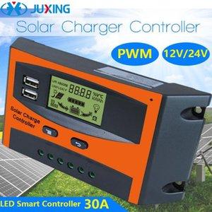 Juxing Dual USB ЖК-дисплей PWM панели солнечных батарей контроллер зарядное устройство Charge солнечный регулятор регулятор 30A 12V 24V