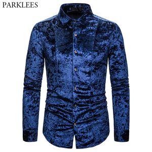 Royal Blue Velvet Velour Shirt Männer 2020 Herbst New Slim Fit Langarm-Herren-Kleid Hemden Freizeit Button Down Chemise Homme