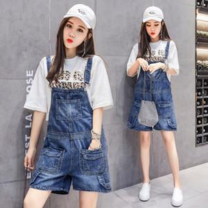Pregnant Woman Straps Denim Shorts+Pockets Plus Size High Waist Maternity Short Jeans Fashion Cotton Jumpsuits Wide Leg Overalls