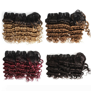 Cheap Ombre Human Hair Weaves Indian Deep Wave Curly Hair Bundles 8-10 Inch 3pcs Set Blonde Red wine Human Hair Extensions 166g Set