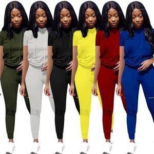 Trousers Famale Sport Set Women Summer Tracksuit Solid Color O-Neck Short Sleeve Tshirt Slim Fit Folds