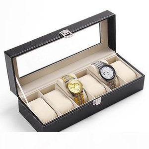 E Wholesale -6 Slots Faux Leather Wrist Watch Display Box Storage Holder Organizer Case