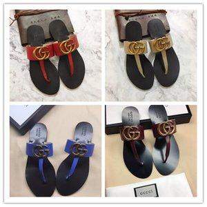 TOP de luxe de femmes Chaussons Open Toe été Glissement On Flat Slides Plage Thong v Chaussures Femme Flops flip canal de mode