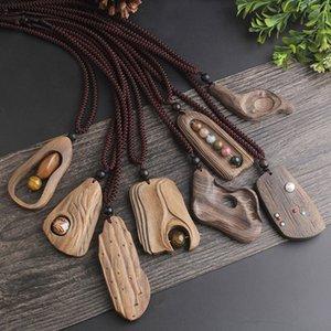 WEIYU unregelmäßige geometrische Sandelholz Halskette Lange Kettenhandgemachter Schmuck Weinlese-Steinkorn-Halskette für Frauen Geschenk