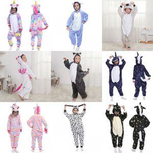 Unicorn Kinder Pyjama Dinosaurier Kigurumi Horn Pferde sleepcoat Baby-Karikatur Nightgown Nighty Flanell Jumpsuit Bunte lose Pijama Mantel 27az C2