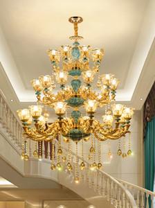 Гостиная Трехэтажное Кристалл подвеска лампа Дуплекс Здание Большой Золотой Люстра Hotel Club Hall лестничные Ceramic Кри освещение