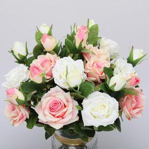 CHENCHENG 10 Parçalar / Lot Düğün Dekorasyon Kış Sahte Big Çiçekler Kırmızı Ev Dekorasyonu için 2 Başkanları Gül İpek Yapay Çiçekler