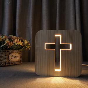 Holz-LED-Nachtlicht, kreuz, Dinosaurier, Welpen aus Massivholz Kiefer Handwerk Tischlampe, grenzüberschreitende Schreibtischlampe