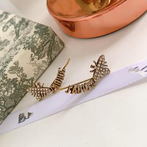 D Jia ja letter bee full diamond ear nail 925 silver needle female ear clip anti-allergy High version