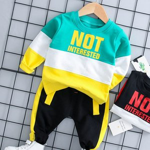 Keelorn Kids Clothing Boys Casual Active Outfits 2PCS Color Patchwork Sweat + Pants Little Boy Letter Print Fashion Suits