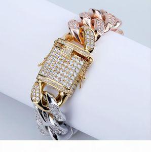 Cross-boundary hot style zircon jewelry cuban-link bracelet men's 14-18mm tri-color rainbow gold bracelet