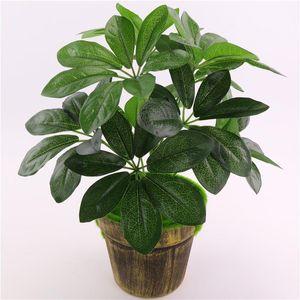 9 Heads Artificial Schefflera Octophylla Leaves Indoor Bonsai Tree Potted Money Tree Plant Garden Home Lucky Green Plants