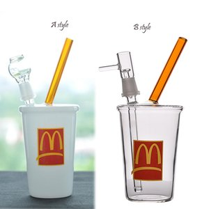 Mini Coupe en verre épais McDonald barboteur Beaker Bong recycleur Rigs eau Huile Bongs Fumée Tuyau 14mm Joint narguilés Chicha 8 pouces
