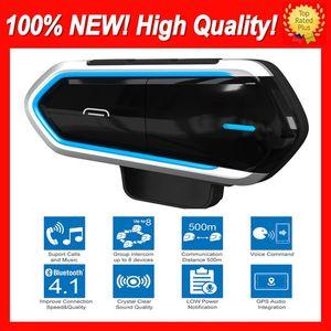 Lunga attesa del casco del motociclo senza fili Bluetooth Headset Equitazione vivavoce Radio FM stereo MP3 Auricolare massima semplicità d'uso cuffia impermeabile