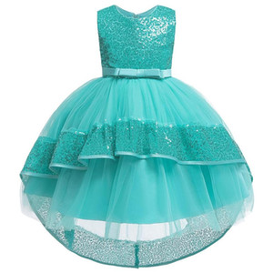 Girls Dress Swallowtail Sequined Mesh Lace Princess Cocktail Dresses Birthday party dress children 3 4 5 6 7 8 9 10 years T200709