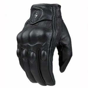 Motorcycle gloves Mesh Racing Retro Pursuit Perforated Real Leather Moto Motocross Glove Electric Bike cycling knight jino#