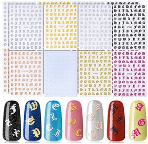 Letter Reflections Nail Stickers - Holographic Letter Old English Alphabet Nail Art Decals 3D Laser Words Character Vinyls Nail Stencil