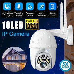 HD 1080P WIFI IP 카메라 무선 야외 CCTV PTZ 스마트 홈 보안 IR 캠 자동 추적 알람 (10) LED 방수 전화 원격 모니터
