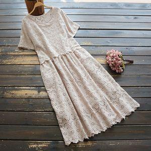 7985 New Summer Women's Artistic All-match Hollow Cotton Embroidered Short Sleeved Dress round Neck Dress