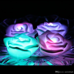 Fancy Colorful Changing LED Rose Flower Romantic Wedding Decoration Party Lamp Candle lights Make a Wish Lights rose led night light