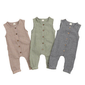 Lattice Baby Rompers Infant Plaid Sleeveless Jumpsuits Toddler Boys Girls Button Onesies Vêtements Bébé 95% Cotton Summer Clothes 060728