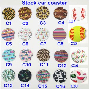 Neoprene Car Coaster Cup Holder Mat For Baseball Softball Unicorn Printing Striped Car Cup Mugs Mat Contrast Home Kitchen Tools HH7-2061