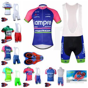 LAMPRE 팀 남성 사이클링 짧은 소매 저지 9D 턱받이 팬티 세트 통기성 자전거 의류 야외 스포츠웨어 로파 Ciclismo F072303
