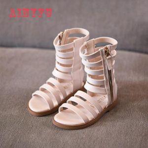2020 Pu Leather Children Fashion Sandals Girls Roman Open Toe High Boots New Summer Girls Gladiator Sandals A599 Y200619