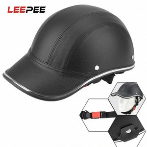LEEPEE Motorcycle Half Helmet Safety Hard Hat Leather Half Face Summer Cap Baseball Cap Style For Cafe Racer Chopper Scooter sjEW#