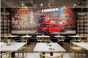 3d photo wallpaper custom any size mural Hand painted HD brick wall British red bus restaurant decor living room wallpaper for walls 3 d